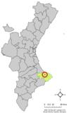 Localización de Sanet y Negrals respecto a la Comunidad Valenciana