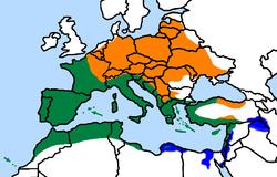 Distribución geográfica del verdecillo. Verde: reside todo el año Azul: solo invernada Naranja: solo cría